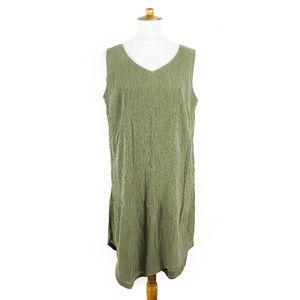 J. Jill green Pure Jill crinkle lagenlook dress, M